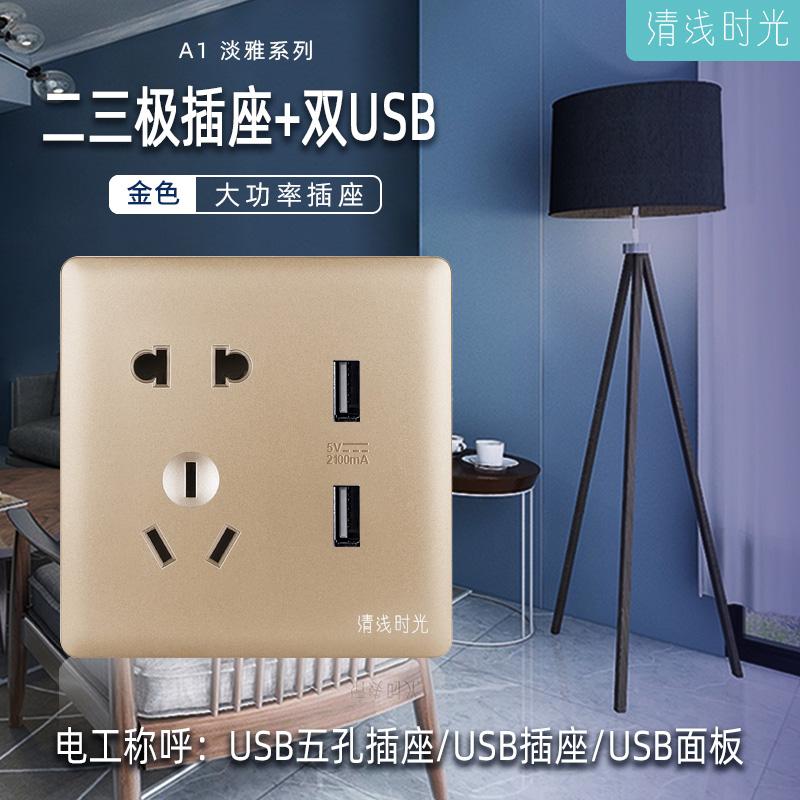 A1淡雅系列/金色/二三極插座+雙USB