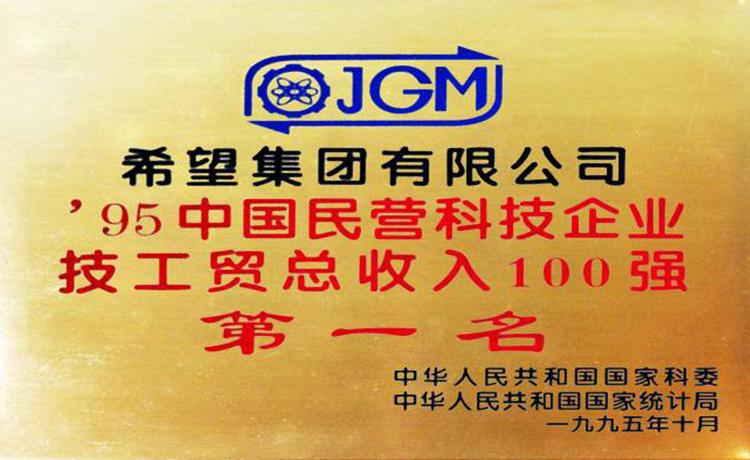 中國民營科技企業技工貿收入百強第一名