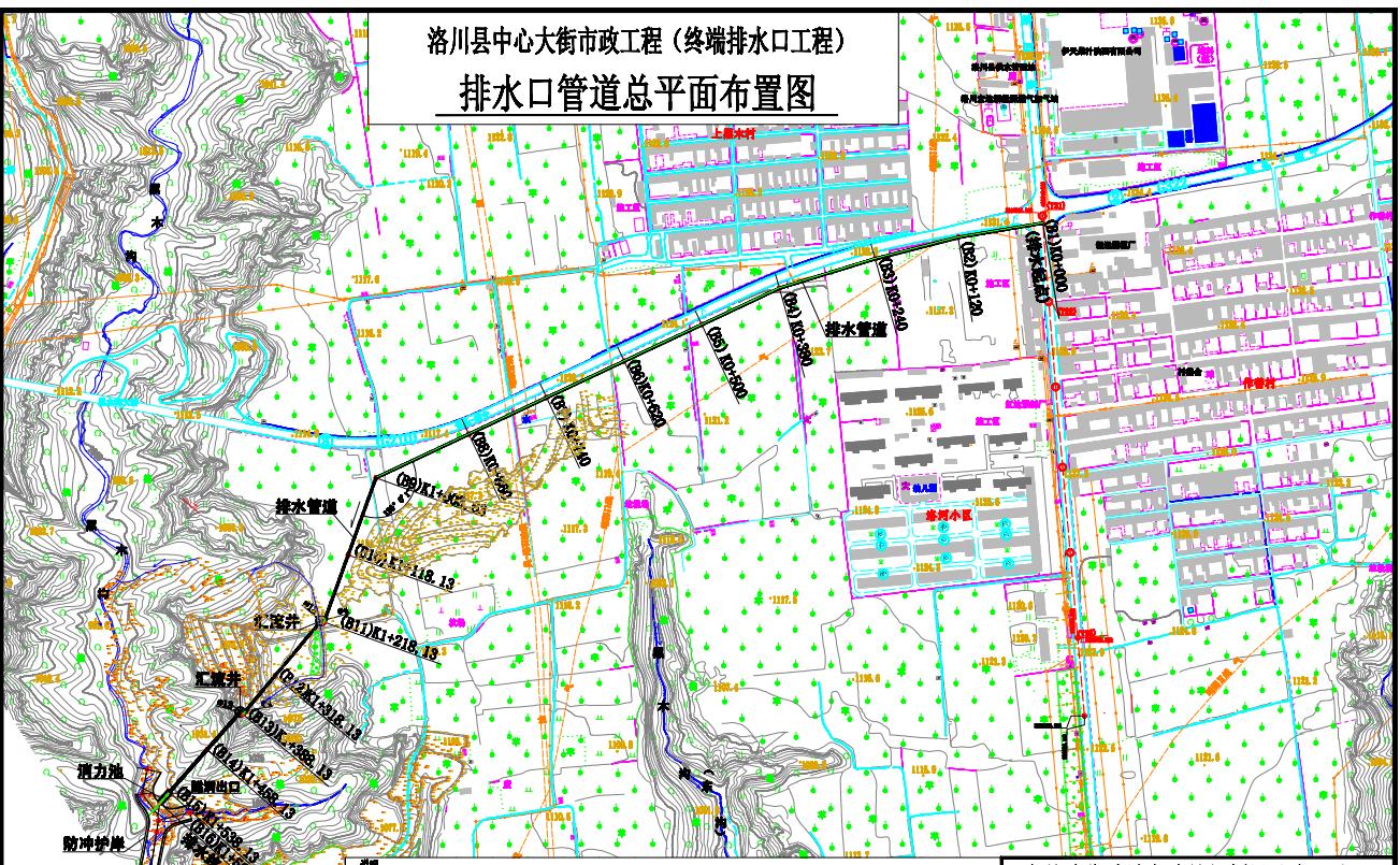 洛川縣中心大街市政工程建設項目終端排水口工程設計