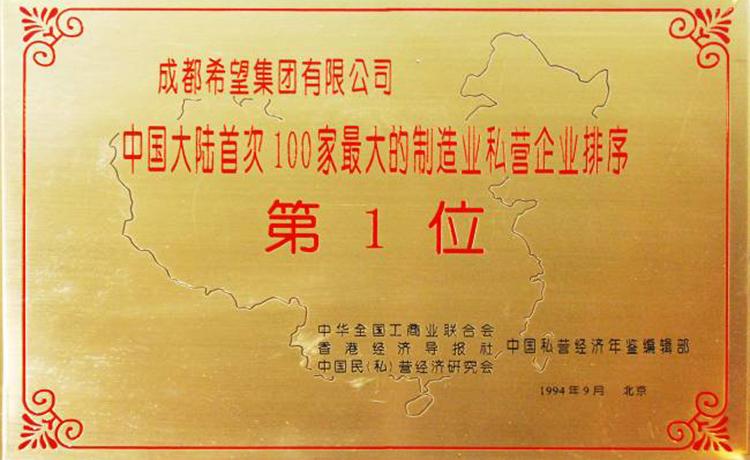 中國大陸首次100家最大的制造業私營企業排序第1位