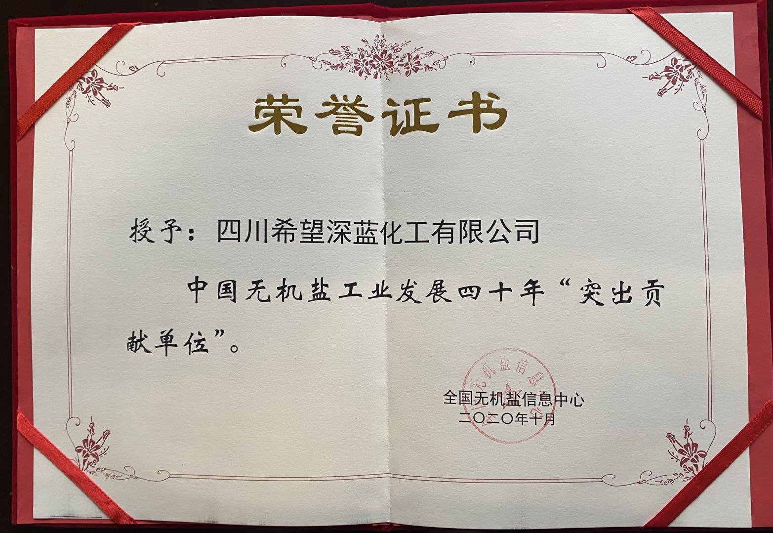 """中國無機鹽工業發展四十年""""突出貢獻單位"""""""