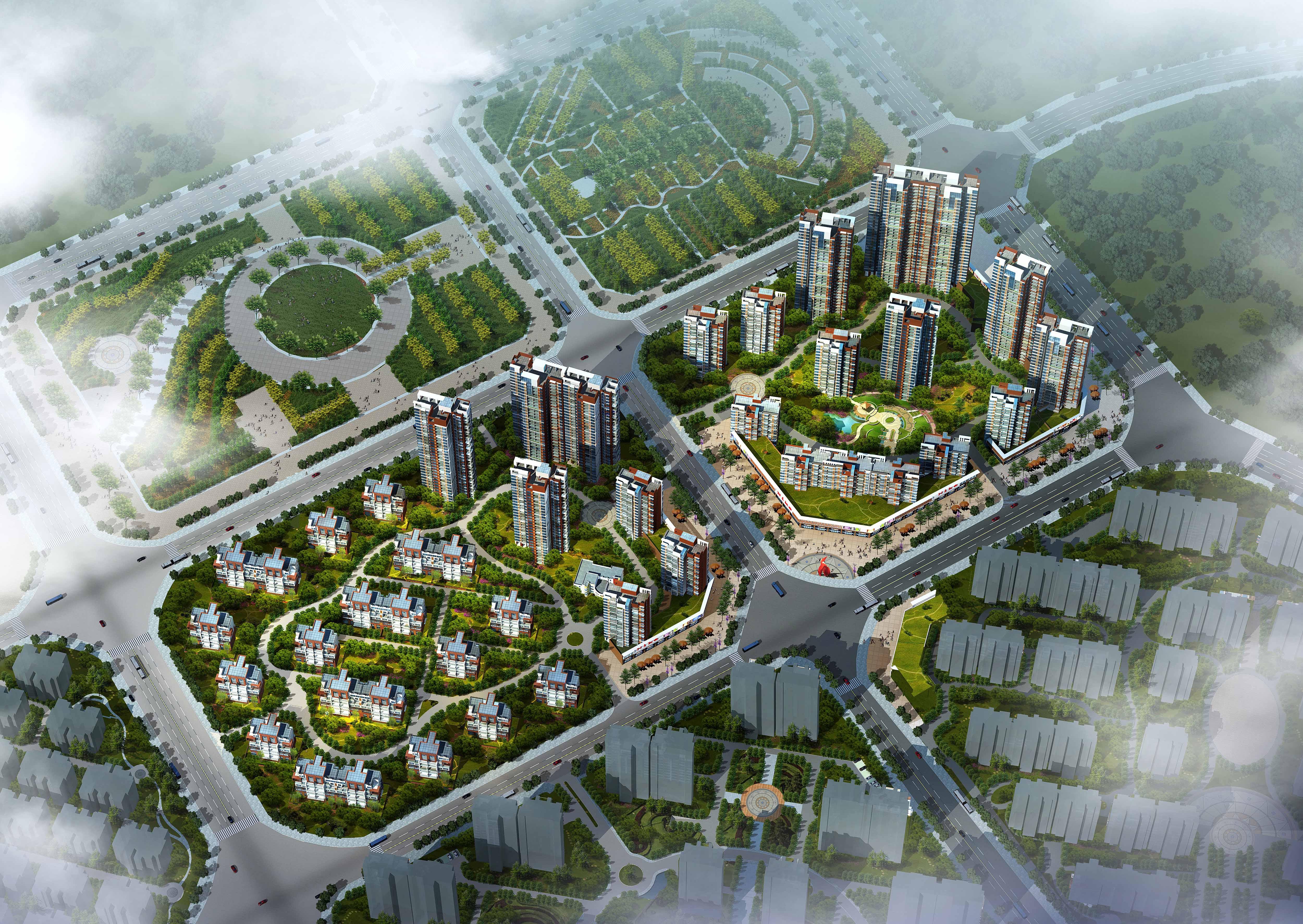 尚城-沂龍灣04,05地塊住宅小區鳥瞰圖