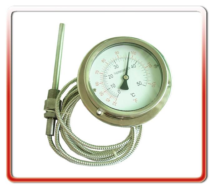 100MM軸向全鋼軟管連接壓力式溫度計