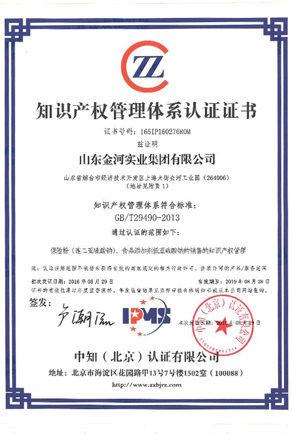 165IP160276R0M山東金河實業集團有限公司證書