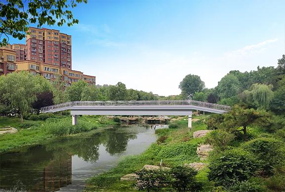 【红三叶钢构】西沙河人行钢架桥竣工通行