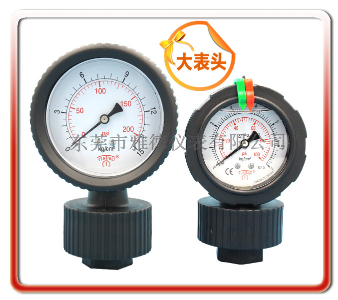 80MM大表面一體PP隔膜壓力表(出口日本款式)