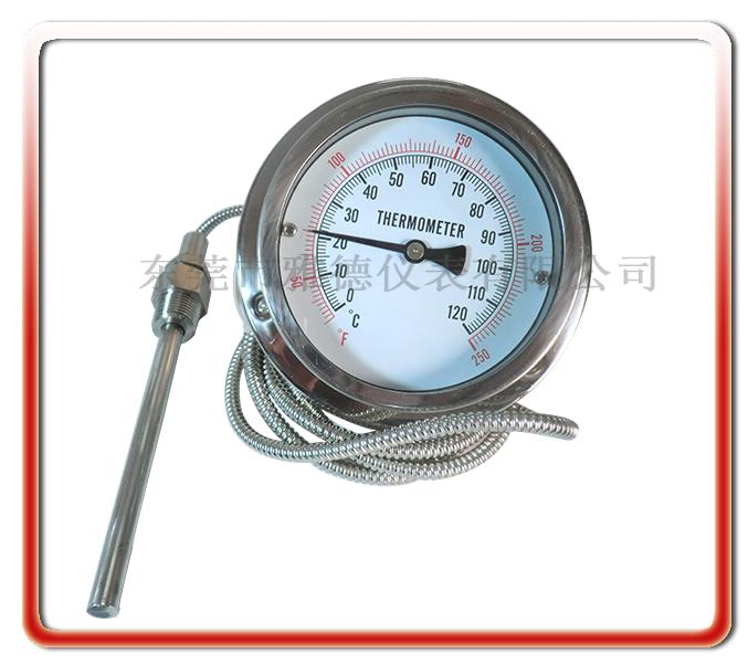 75MM軸向全鋼軟管連接壓力式溫度計