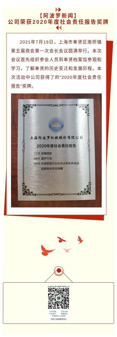 【阿波羅新聞】公司榮獲2020年度社會責任報告獎牌