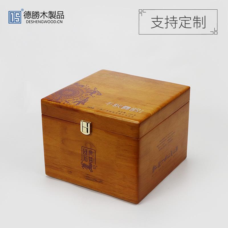高檔橡膠木茶葉盒
